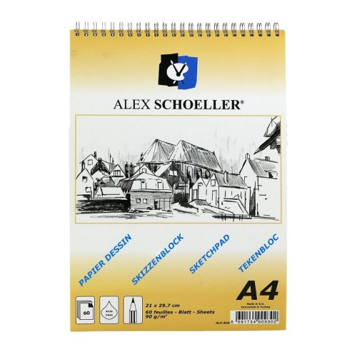 Alex Schoeller Eskiz Blok Spiralli A/4 90Gr 60 Yp.
