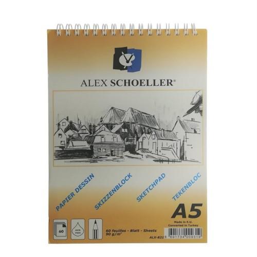 Alex Schoeller Eskiz Blok Spiralli A/5 90Gr 60 Yp.